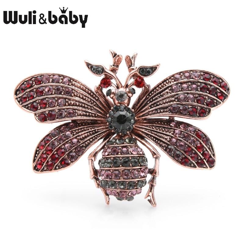 Wuli&baby Big Blue Red Rhinestone Bee Brooches Women Men Metal Brooch Pins Gifts