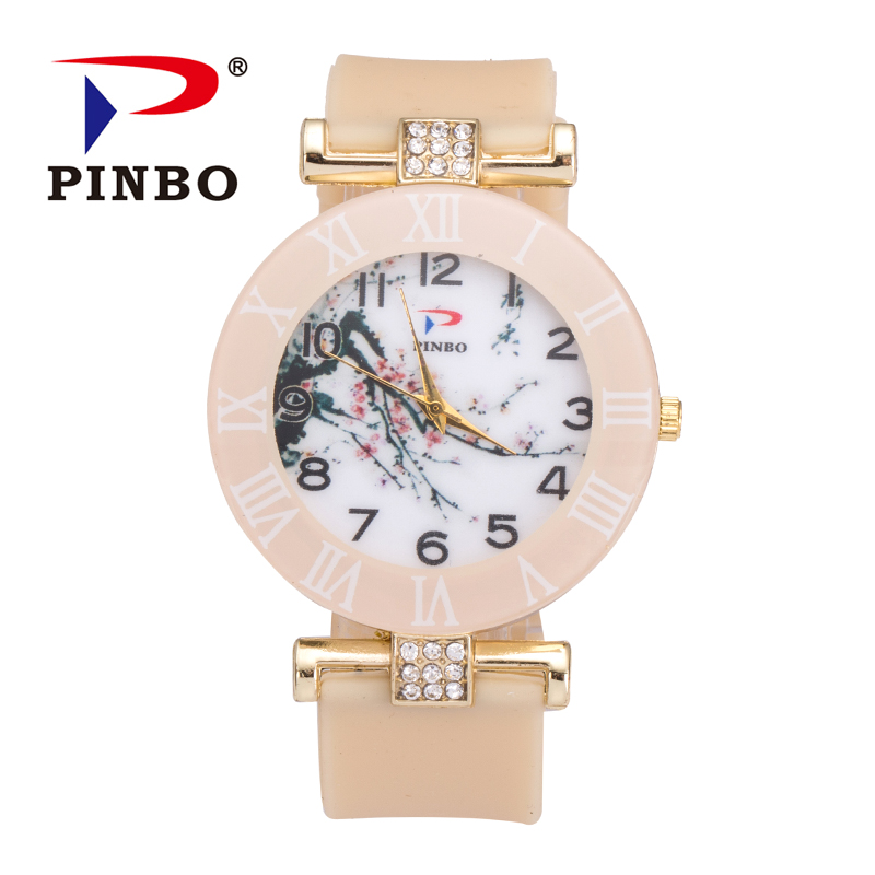 New PINBO Famous Brand Lamei Flowers Casual Quartz Watch Women Silicone Jelly Watches Ladies Clock Relogio Feminino Hot Sale new ybotti famous brand silver crystal casual quartz watch women stainless steel watches relogio feminino ladies clock hot sale