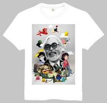 Free Shipping Fashion Miyazaki Hayao Printing Short T-Shirt White Miyazaki Hayao Tee Top Shirt