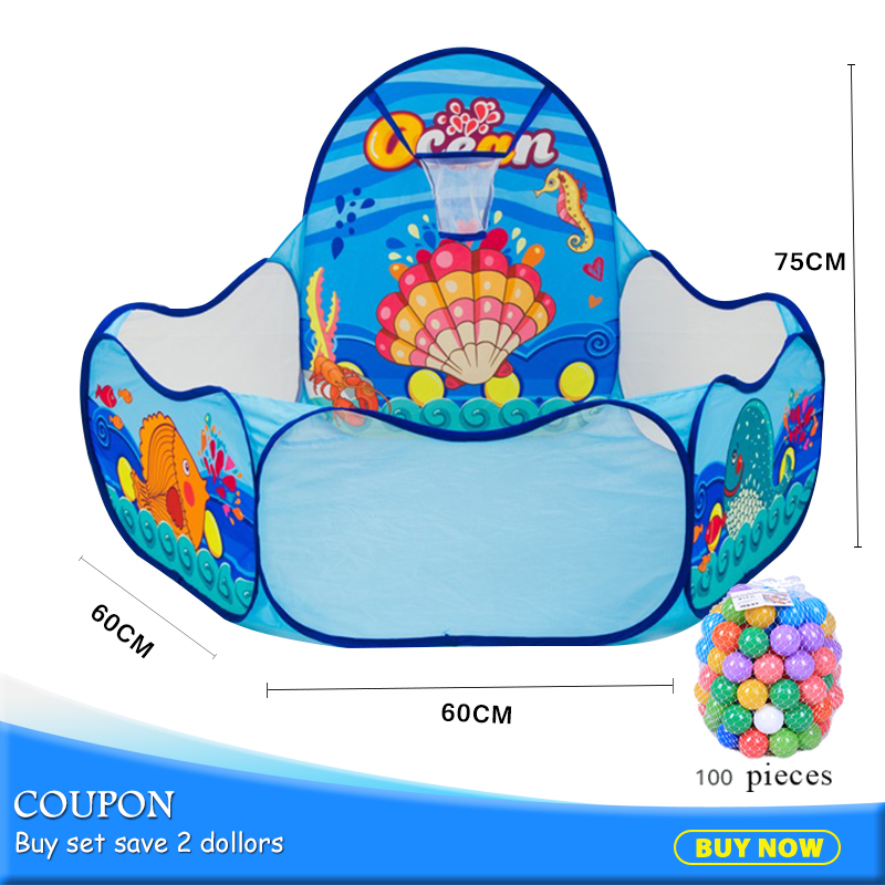 100Pcs Balls Cartoon Ocean Folding Hexagon Children Play Pool Tents Portable Kids Playpen Ball Pool Outdoor Toy Tent 985-Q47