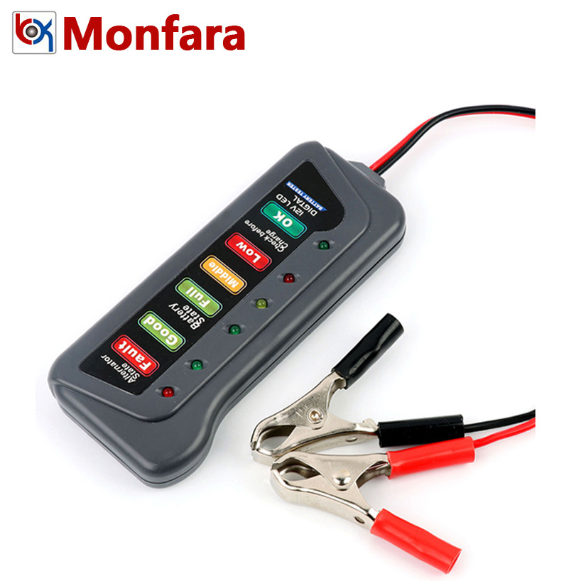 Probador de batería de coche Digital de 12 V, alternador de carga de arranque, prueba de comprobación de estado, 6 LED, motocicleta 12 V, herramienta de Analizador de medida automático