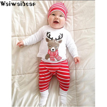 newborn baby toddler sets casual outfit clothes o neck long sleeved tops pants hats 3pcs set baby clothes for boys and girls Baby Sets Kids Christmas Clothes Long-Sleeved Rompers +Pants +Hats 3PCS  Infant Outfits Sets Christmas Sets For Boys And Girls