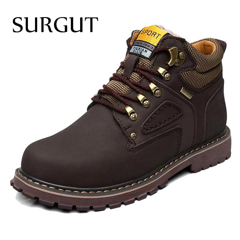 SURGUT Brand Super Warm Men's Winter Leather Men Waterproof Rubber Snow Boots Leisure Boots England Retro Shoes For Men Big Size(China)