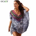 Vestido de Playa de La Gasa de La Manga Del Batwing de la vendimia de La Manera Sundrses Leopardos Imprimir Mini Vestido Ocasional Del Verano Vestido Vestidos de Gran Tamaño 2016