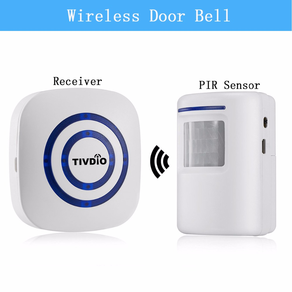 TIVDIO Wireless Chime Alarm Alert Doorbell with PIR Motion Sensor Infrared Detector Induction Gate Entry Door Bell Home F9506B qiachip 2017 brand wireless digital doorbell with pir motion sensor infrared detector induction alarm door bell button home diy