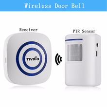 TIVDIO Wireless Chime Alarm Alert Doorbell with PIR Motion Sensor Infrared Detector Induction Gate Entry Door Bell Home F9506B