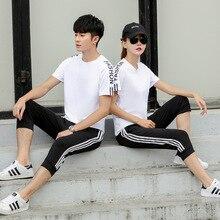 Lovers Women Sportswear Men Sport Suit Short Sleeve T-shirt Sweatshirt+pant Running Jogger Fitness Casual Training Outfit Set цены