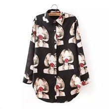 Show School Women Long Blouses Long Sleeve Lapel Blouses Rose Beauty Print Shirts Casual Loose Blouse Elegant Comfy Tops AE8088