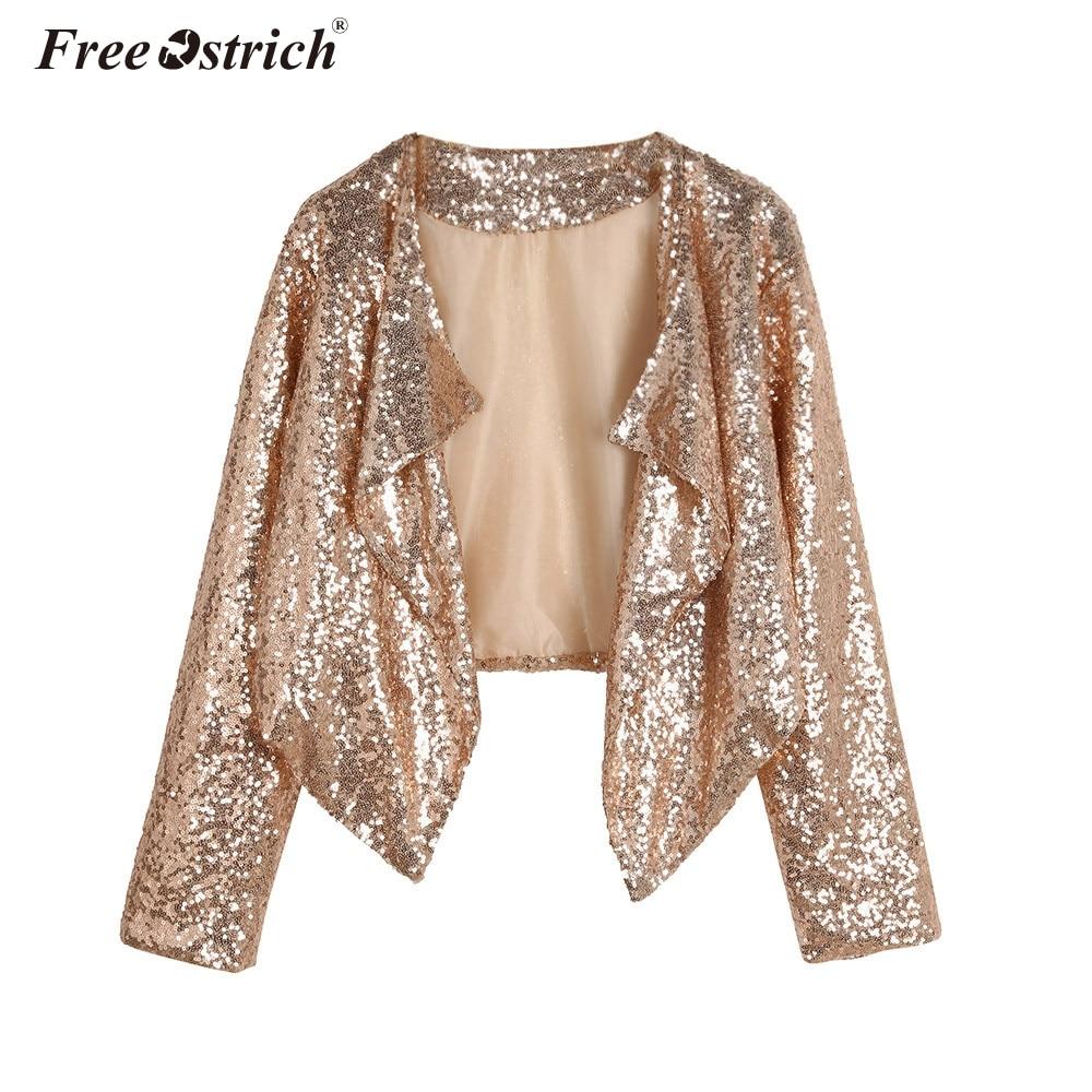 Free Ostrich Jacket Autumn Spring Fashion Short Cardigan Women Gold Sequins Long Sleeve Irregular Outerwear Tops Slim Coat A0440