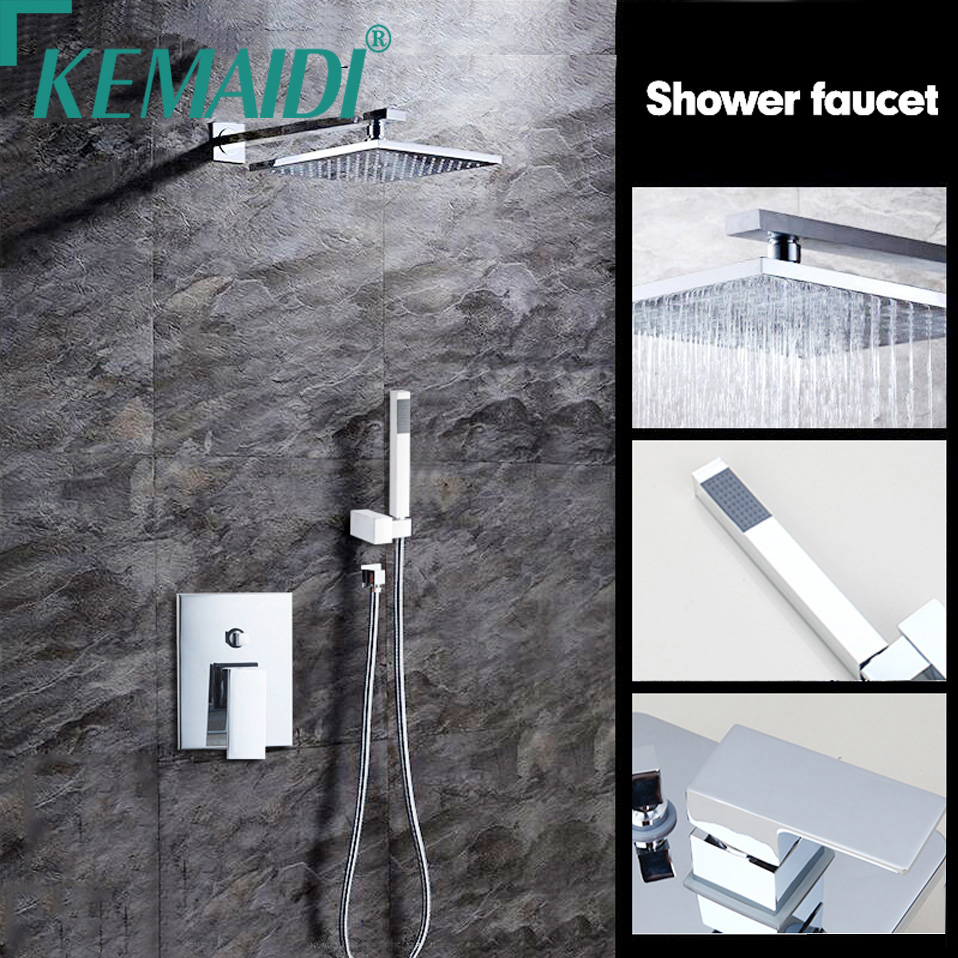 KEMAIDI Bathtub Rainfall Shower head Polished Wall Mounted 360 Degree Swivel Panel Mixer Taps Shower Faucets Set Chrome Finish free shipping polished chrome finish new wall mounted waterfall bathroom bathtub handheld shower tap mixer faucet yt 5333
