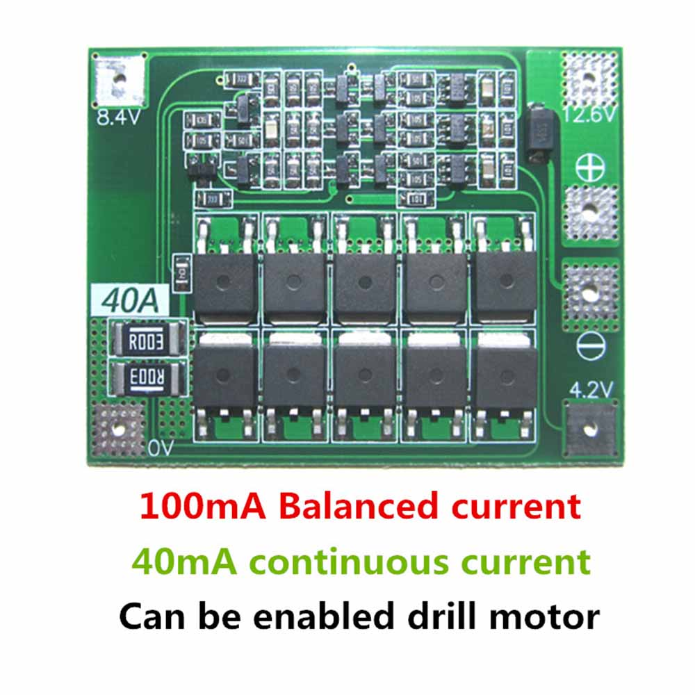 3S 40A Li-ion Lithium Battery Charger Lipo Cell Module PCB BMS Protection Board For Drill Motor 12.6V with Balance