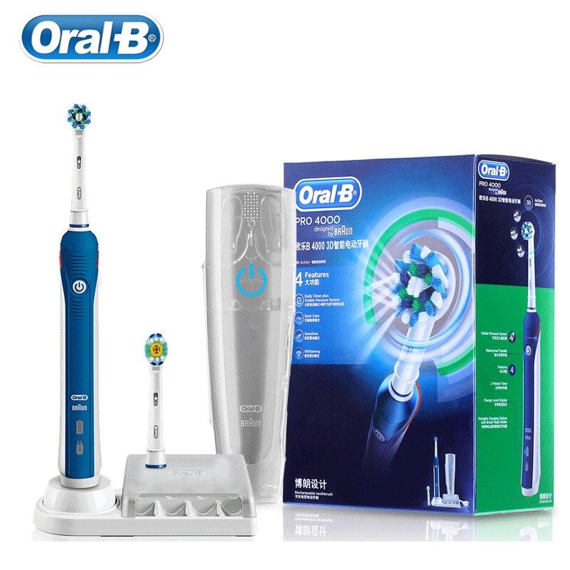 Oral B Pro4000 3D Ультразвуковой Электрический Зубная щётка D20525 Smart десен Перезаряжаемые таймер светодиодное отбеливание зубов ежедневная Чистка