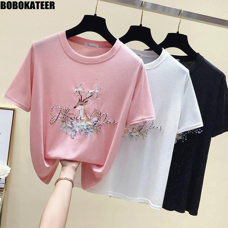BOBOKATEER Kawaii Pink T-shirt Femme Casual White T shirt Women Clothes Korean Summer Tops Black Tee Shirt Short Sleeve New 2019