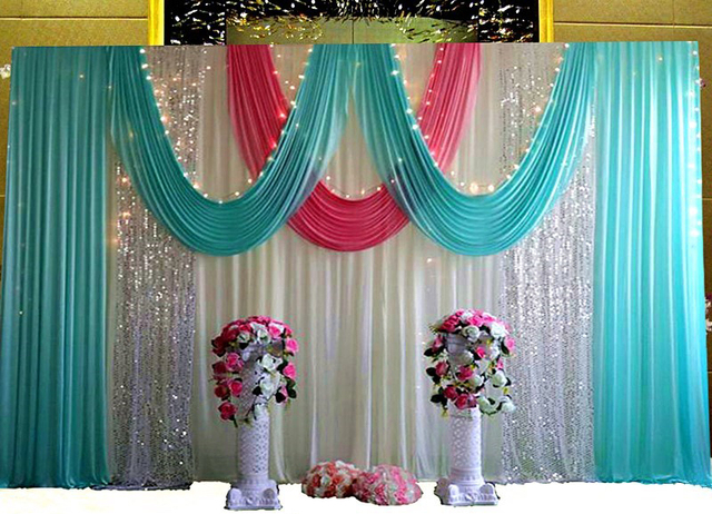 3x6m White Wedding Backdrop With Tiffany Blue Swags And Silver