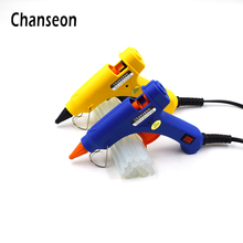 Hot Melt Glue Gun 20W With 20pcs White 7mm DIY Glue Stick High Temp Heater Handtool Industrial Mini Glueguns Thermo Repair Tools