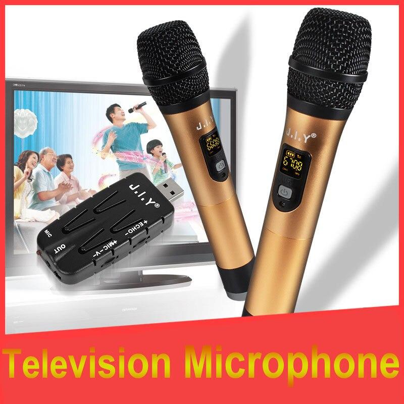 JIY Universal USB Double Wireless Microphone Professional mixer audio radio 2 USB Mic for DJ karaoke computer TV Plug and play