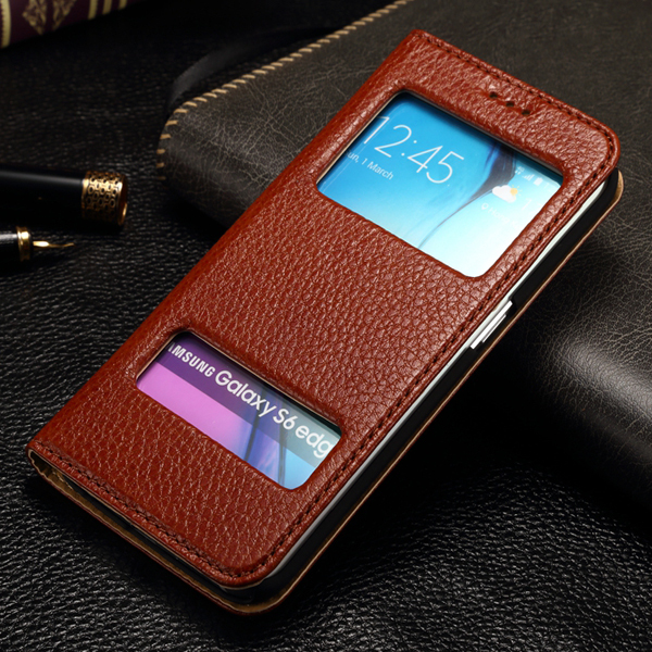 new concept 2f5de 23715 US $8.34 |Quick View Window Style Case For Samsung Galaxy S6 Edge Flip Real  Genuine Leather Case Cover Stand Smart Cover Case For s6 on Aliexpress.com  ...