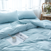 Knitted Cotton Naked Bedding Set Bedlinen Bed Sheet Striped Twin Full Queen King Duvet Cover Pillowcase