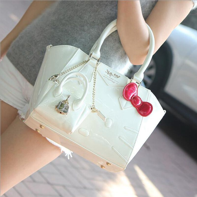 Free shipping 2017 NEW Luxury famous brand hello kitty handbags shoulder tote bag women female ladies casual bags leather
