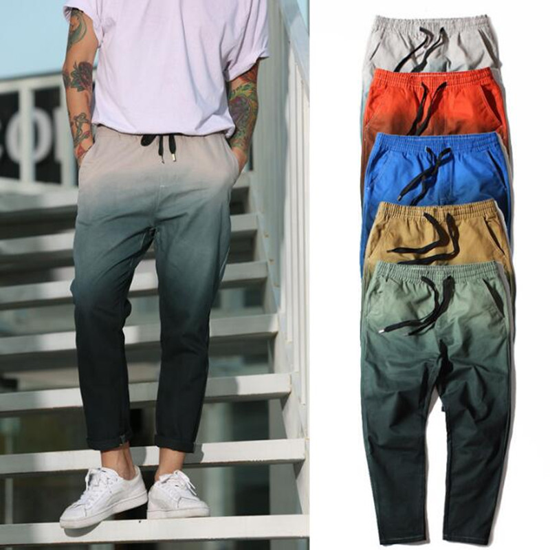 2018 Mens Trousers Street Wind of personality The Mens Casual pants Feet Hip Hop gradient Mens Dye gradient cloth trousers