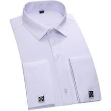 Twill Smoking Französisch Manschette Shirt 2016 100% Baumwolle Männer Formale Einfarbige Chemise Homme Manschettenknopf Hemden T0042