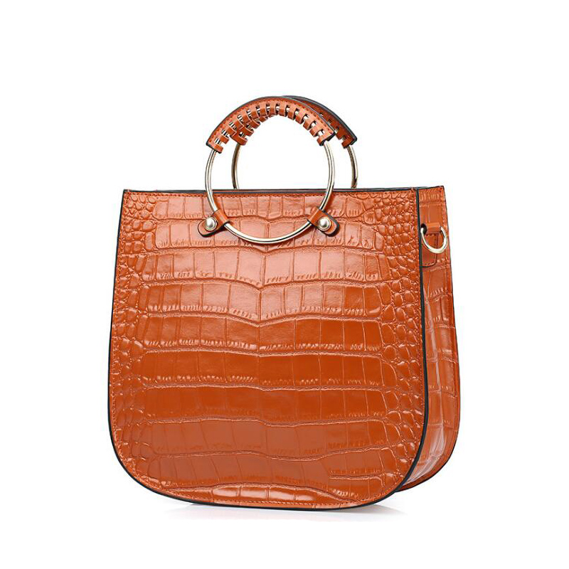 2017 Luxury Genuine Leather bag women Ring Handbags Vintage Alligator Pattern Tote Bags famous Brand High Quality Shoulder bag 2015 hot sell famous brand women bag foxer genuine leather fashion women handbags women alligator zipper shoulder bags