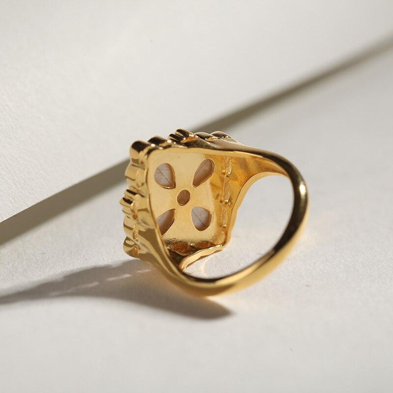CMajor S925 Серебряные Ювелирные изделия Итальянский стиль белая оболочка четырехлистный клевер винтажные Модные кольца для женщин - 5