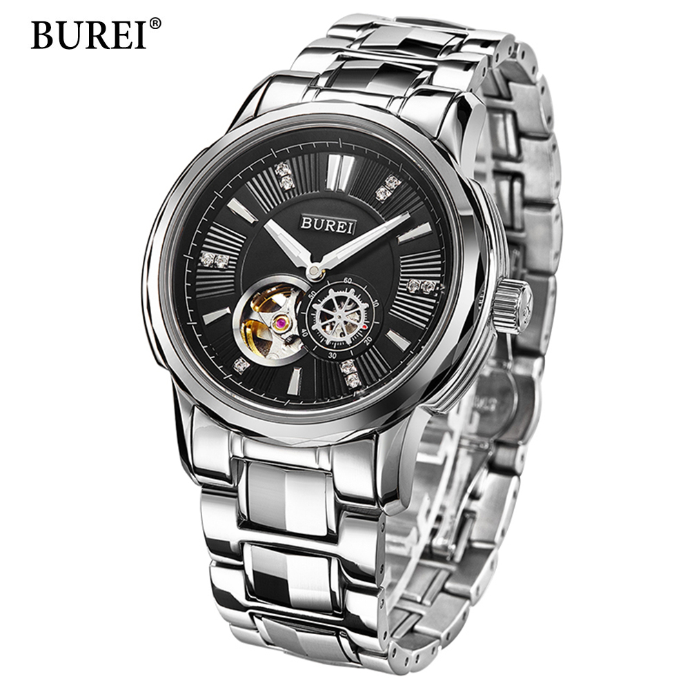 2017 Skeleton Automatic Mechanical Mens Watches Top Brand Luxury BUREI Military Sport Watch Men Clock Men Automatic Wristwatch goer men military sport clock male business skeleton clocks automatic mechanical watches top brand luxury mens wrist watch