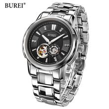 2017 Skeleton Automatic Mechanical Mens Watches Top Brand Luxury BUREI Military Sport Watch Men Clock Men Automatic Wristwatch