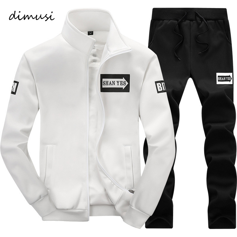DIMUSI Autumn Men Sportwear Sets Tracksuit Male Outwear Sweatshirts Patchwork Men Hoodies Stand Collar Male Tracksuit 4XL,TA013