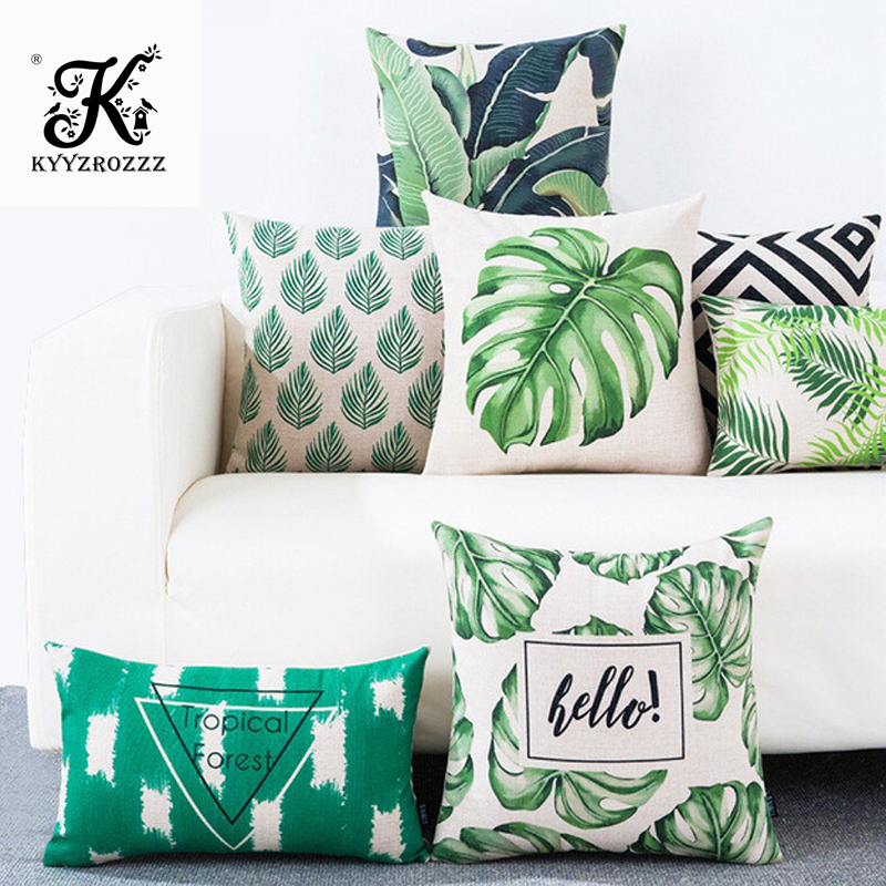 3D Green Leaf Cushion Cover Botanical Tropical Palm Tree Leaves Geomtric Black Beige Pillow Covers Bedroom Sofa Decoration