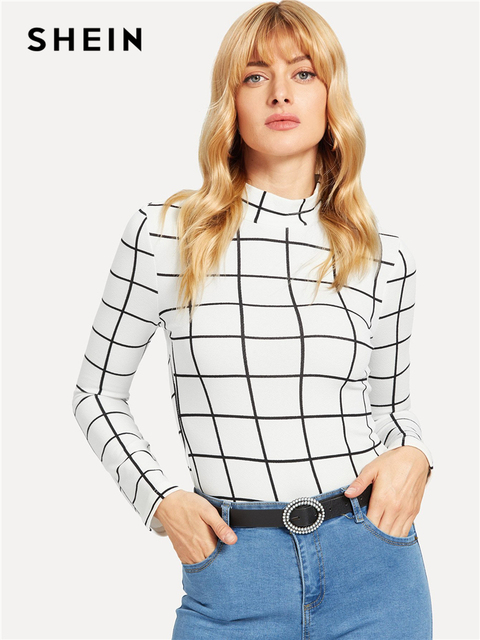 e881be22825 SHEIN White Office Lady Minimalist Mock Neck Grid Fitted Long Sleeve  Fashion Tee 2018 Autumn Casual