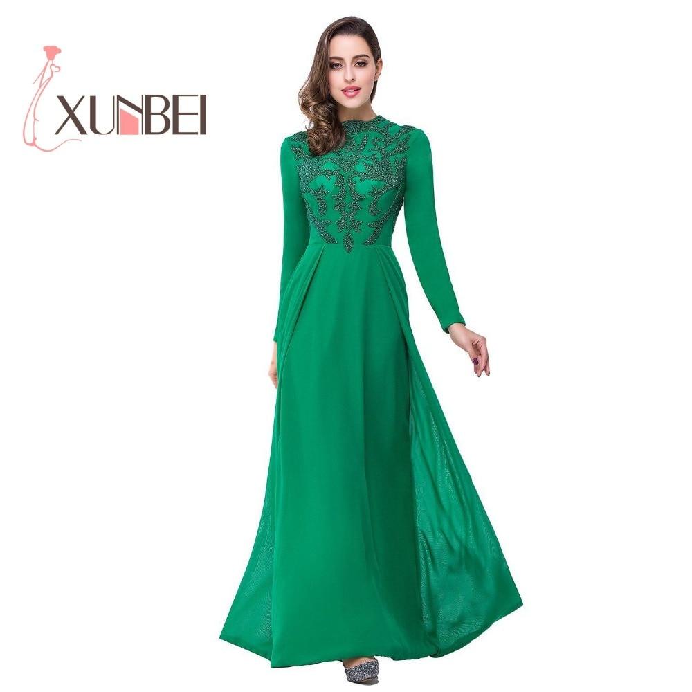 Robe rouge longue Kaftan A Line Green Beaded Evening Dresses 2018 ...