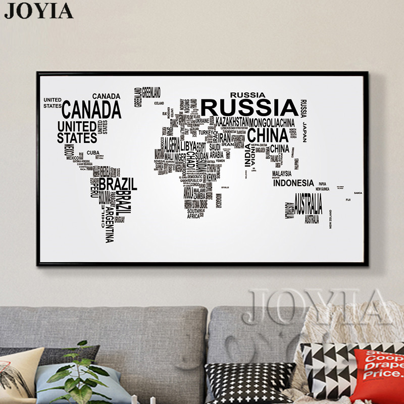 Large world map canvas art english words country names word art large world map canvas art english words country names word art black and white print wall painting home office room wall decor in painting calligraphy gumiabroncs Gallery