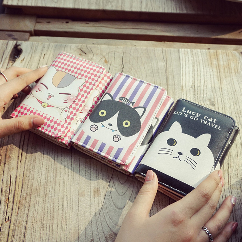 Women cute cat wallet small zipper girl wallet brand designed pu leather women coin purse female card holder wallet dollar price women cute cat small wallet zipper wallet brand designed pu leather women coin purse female wallet card holder