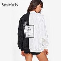SweatyRocks Two Tone Patch Back Letter Ribbon Detail Patchwork Bomber Jacket Oversize Zipper Active Jacket Women