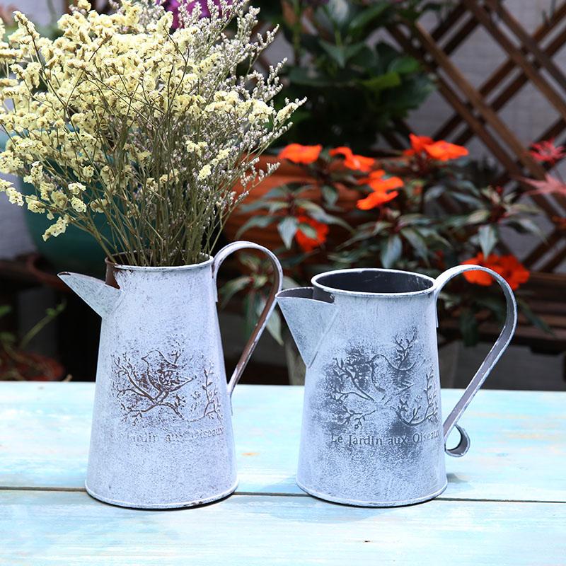 WCIC πότισμα δοχεία λουλούδια κουβά μέταλλο βαρέλι βάζα Vintage σπίτι κηπουρική στολίδια μεταλλικά σκάφη τεχνητή κάτοχος