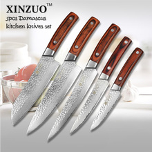 XINZUO 5 pcs Kitchen knives set Japanese Damascus kitchen knife surper sharp chef cleaver knife Color wood handle free shipping
