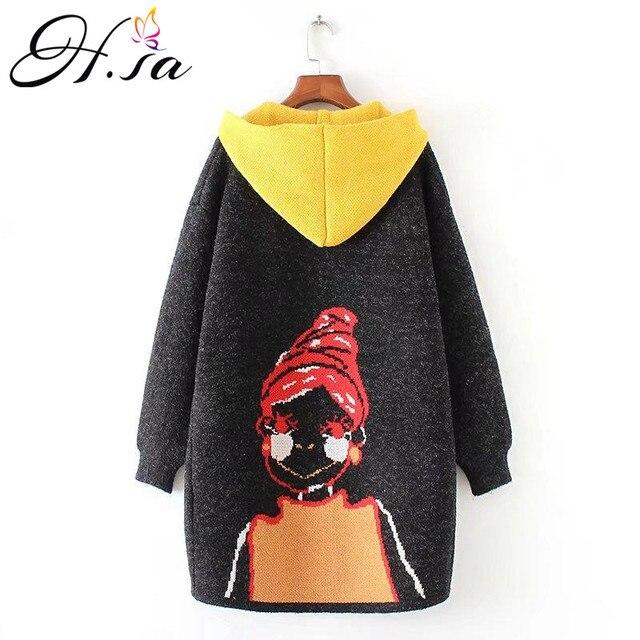 H.SA New Autumn Winter Women Long Sweater Coats Cartoon Hooded Long Cardigans Casual Sweater Jumpers Femme Oversized Long Jacket