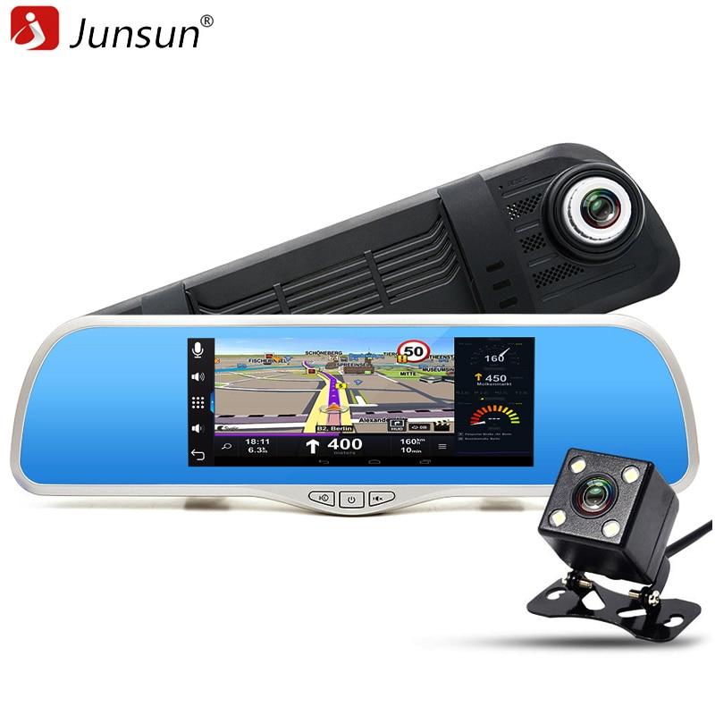 imágenes para Junsun Envío 32 GB card + FHD 1080 P Coche DVR Espejo Retrovisor de Navegación GPS para Android con cámaras de Video lente Dual Dash cam
