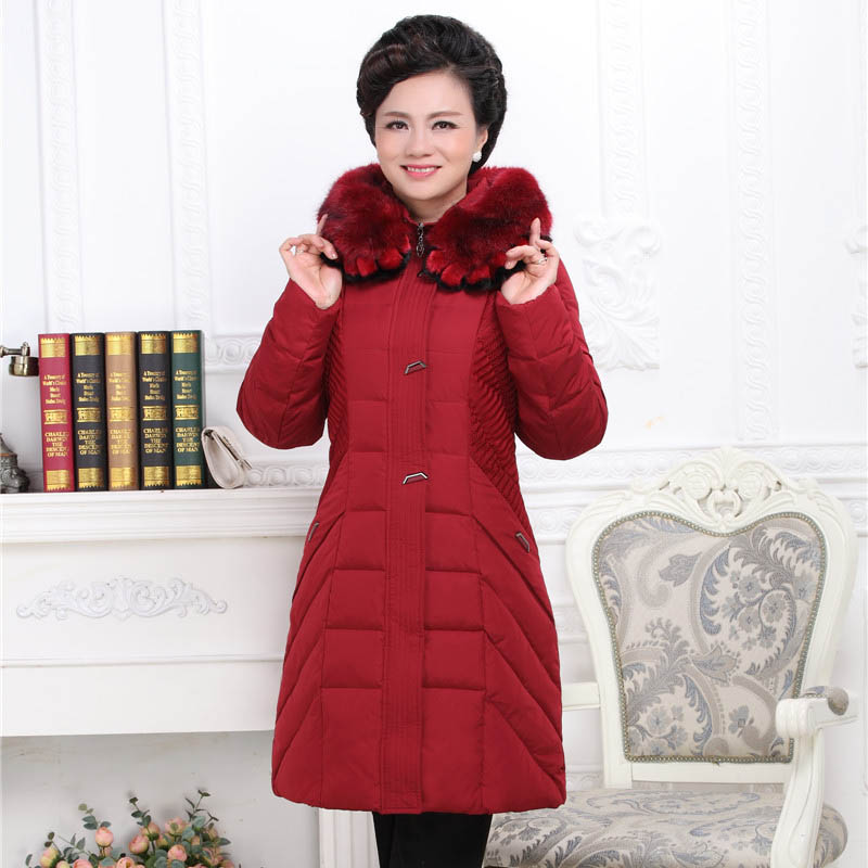 plus size big size middle aged clothes Middle-aged and old upset down jacket long fat mother dress 2018 Winter coats P8199