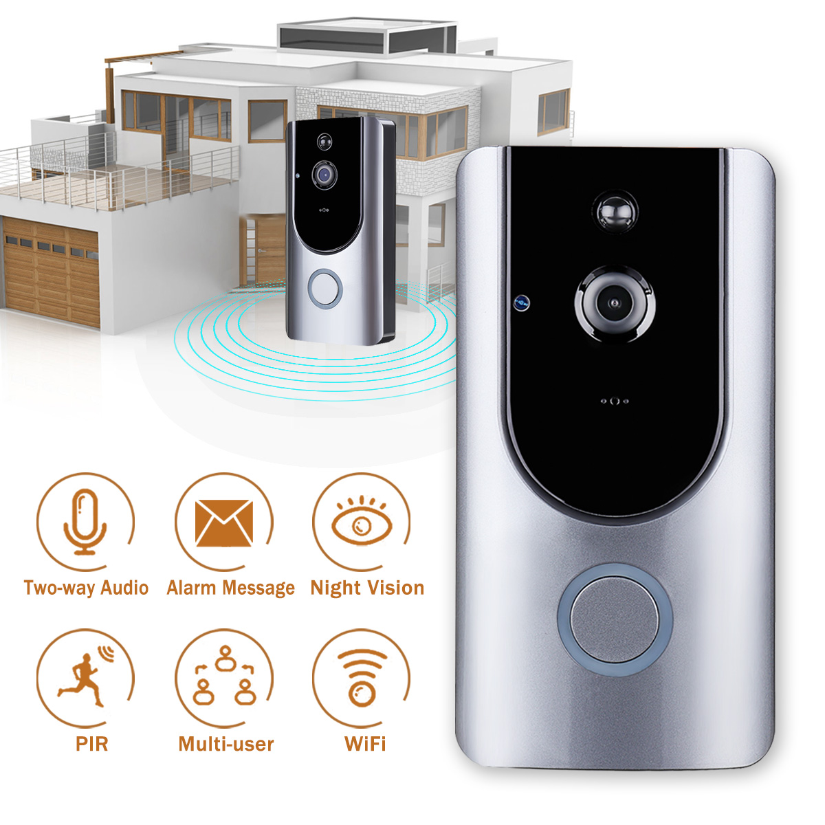 все цены на 1Set Wireless Video Door Phone HD PIR WIFI Doorbell Intercom Alarm Wireless Security Camera Outdoor Doorbell онлайн