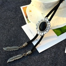 2016 Vintage Western America Style Mens Male Cowboy Opal Bolo Tie Baroque Pattern Leather Party Neckwear