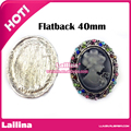 20 pcs / lot embossed metal rhinestone button oval shape of wedding hair bow garment Queen buttons center for DIY