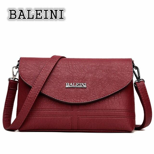 Baleini 2018 Women Messenger Bag Pu Handbags Zipper Solid Famous Brands Shoudler Clutch