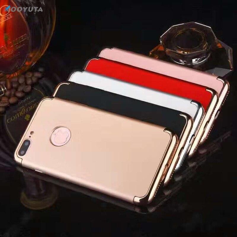 ff51de257 Lujo para iPhone 7 7 pluscase 3 en 1 caso duro plástico híbrido de la PC  para iPhone 6 6s 6 PULS que platea ultra delgada Armaduras contraportada