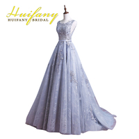 Silber Grau Lange Spitze Formale Abend-kleider Scoop Neck Backless robe de soiree Applique Perlen Prom Kleider Graduation Dresses