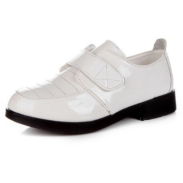 Высокое качество детская обувь мальчиков обувь 2016 осень анти-скольжения pu кожаные ботинки мальчики мода повседневная дети плоские туфли черный белый