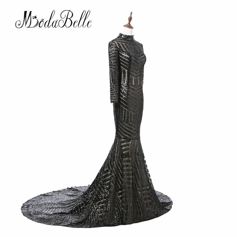 Luxe zwarte vrouwen avondjurken 2017 vestido noite lange mouwen hoge - Jurken voor bijzondere gelegenheden - Foto 3