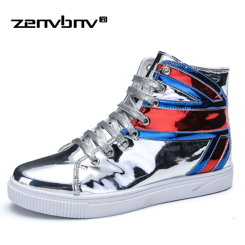 цена на ZENVBNV New Men's Sneakers High Top Sequined Cloth Men Flat Shoes Breathable Fashion Men Casual Shoes Zapatos Hombre Mens Flats